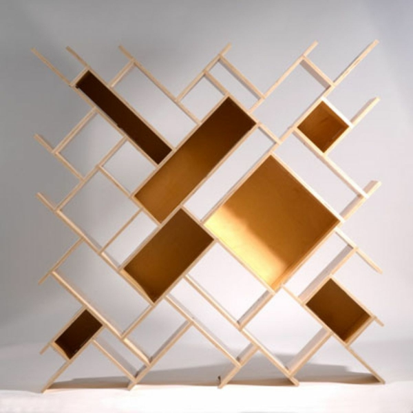 bücherregal wand elegante konstruktion aus holz verspielt