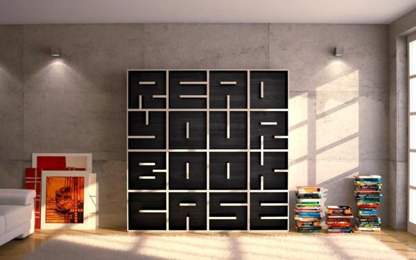 Wandregalsysteme  Bücherregal Wand: Designer Wandregale im Wohnzimmer