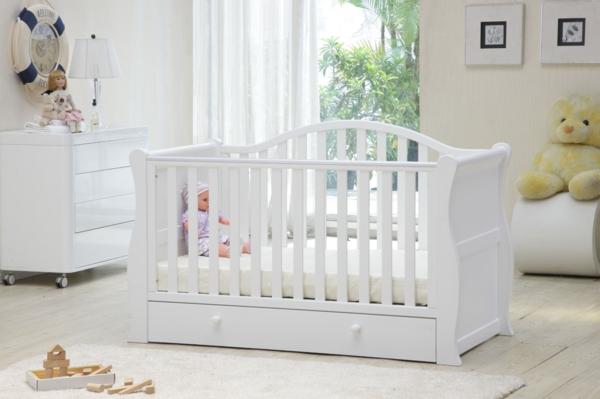 babybettchen weißes design schubladen teppich