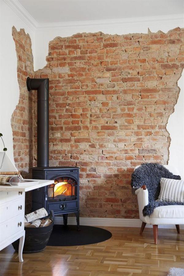 wanddeko selber machen: gefälschte backsteinwand als rustikale deko, Garten ideen gestaltung