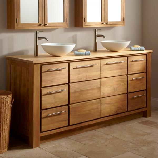 badeinrichtung holz waschtische schüsselförmige waschbecken