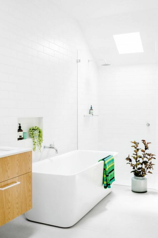 badewanne freistehend badezimmer beispiele holzelemente unterschrank