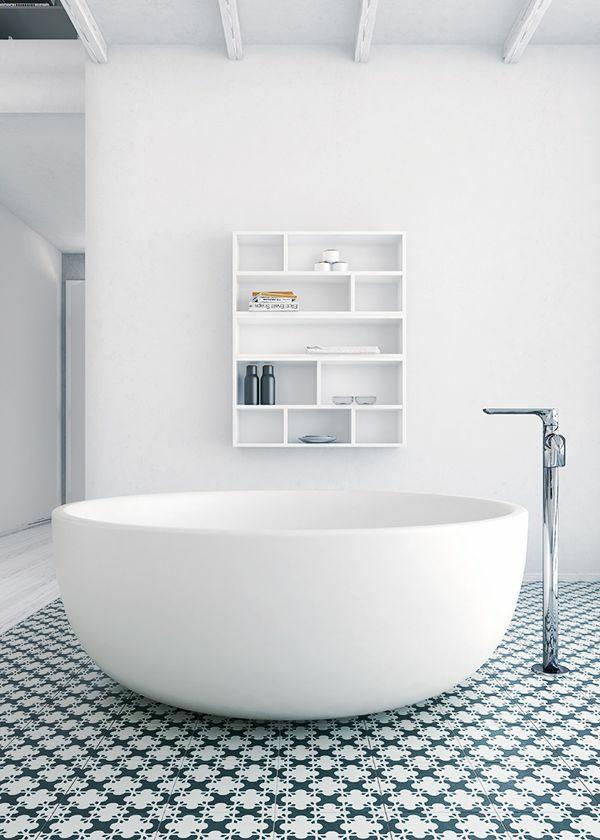 badewanne freistehend badezimmer beispiele minimalistisch weiß