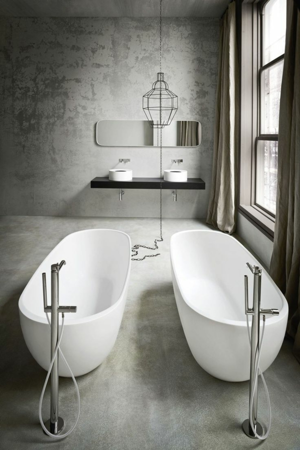 badewanne freistehend badezimmer beispiele modern betonoptik