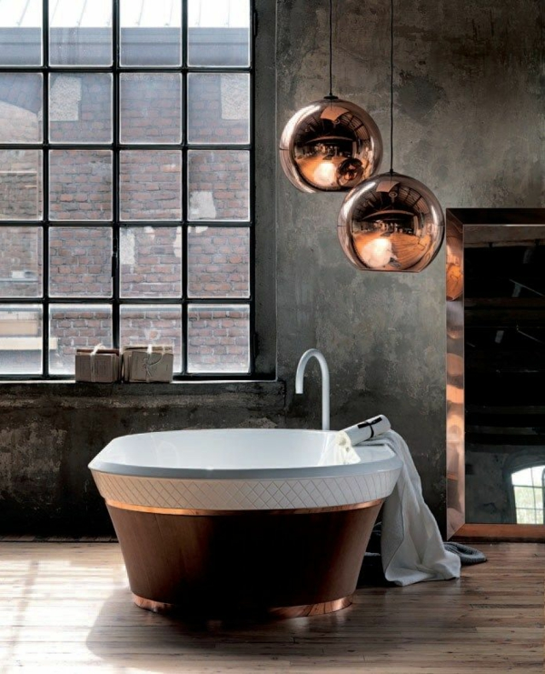 badewanne freistehend badezimmer beispiele pendelleuchten betonoptik