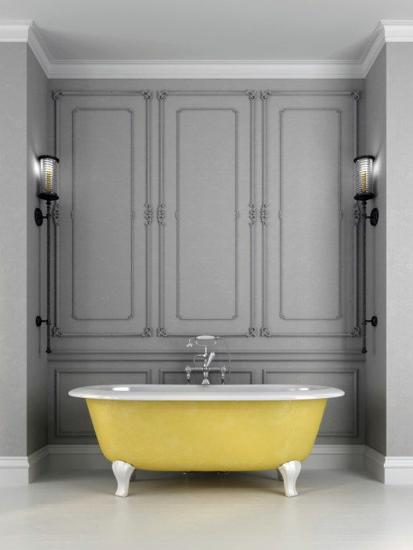 badewanne freistehend gelb badezimmer beispiele
