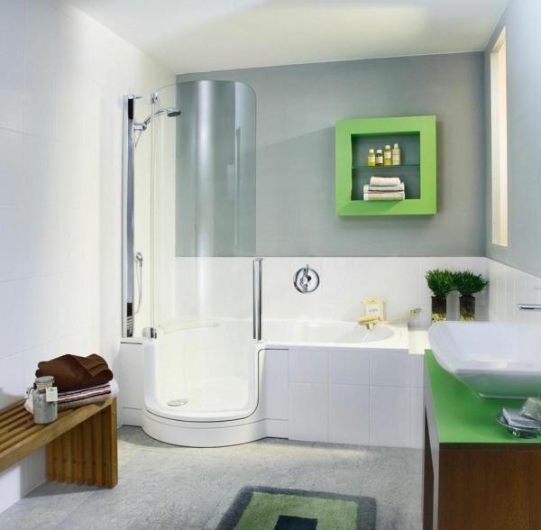 modernes badezimmer einrichten grüne akzente