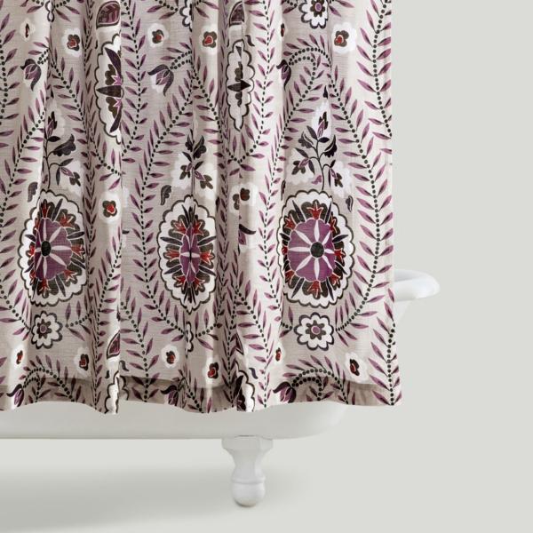 badezimmer vorhang muster  florale elemente