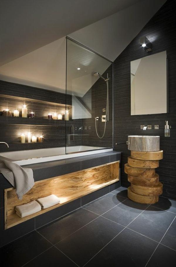 badezimmergestaltung mit fliesen betonoptik holz badmöbel