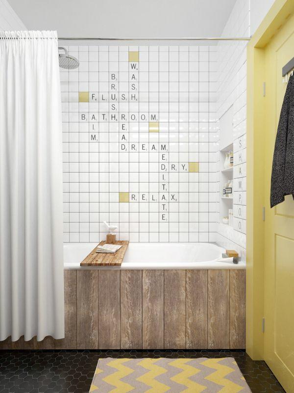 badezimmergestaltung mit fliesen wandfliesen muster buchstaben