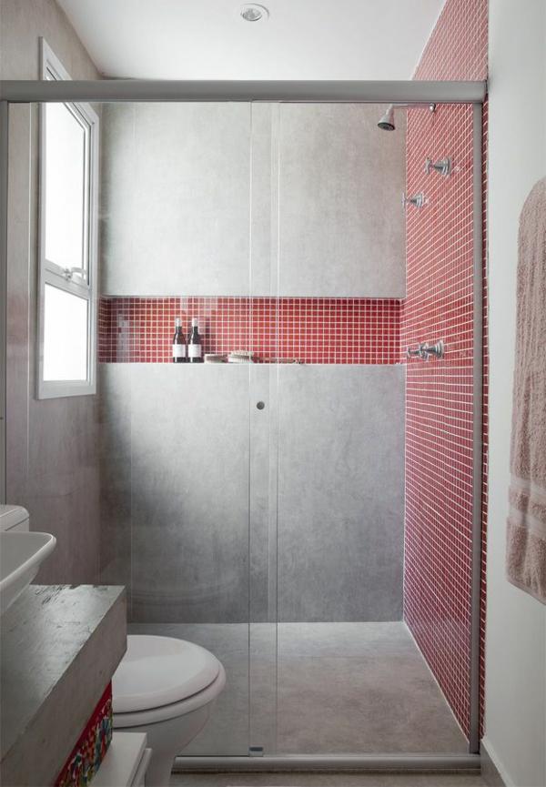 badezimmergestaltung mit fliesen wandfliesen rot beton