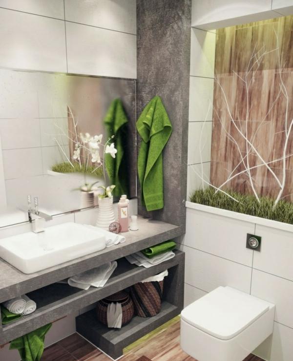 badideen kleines bad grüne akzente tücher