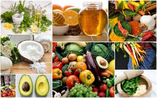 basische lebensmittel gesundes essen produkte collage