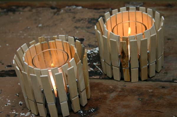 Basteln Mit Wäscheklammern Holz Windlichter