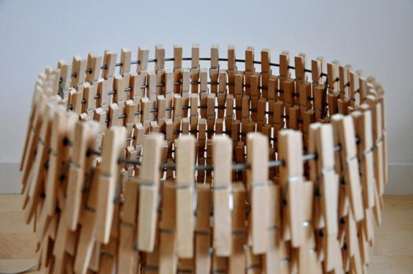 Untersetzer Holz Wäscheklammern ~ basteln mit wäscheklammern etagenförmiger lampenschirm holz
