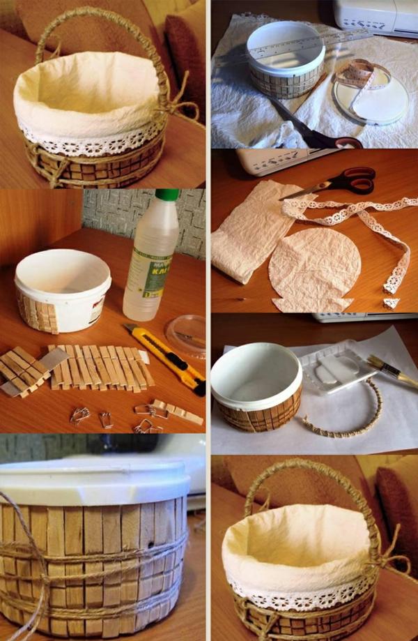 Untersetzer Holz Wäscheklammern ~ basteln mit wäscheklammern körbchen selber machen