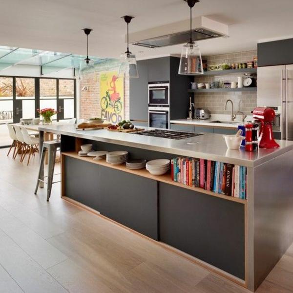 beleuchtung küche kücheninsel regale hängelampen