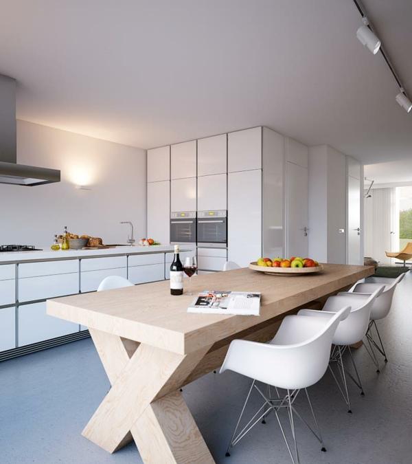 beleuchtung küche rustikaler esstisch weiße stühle