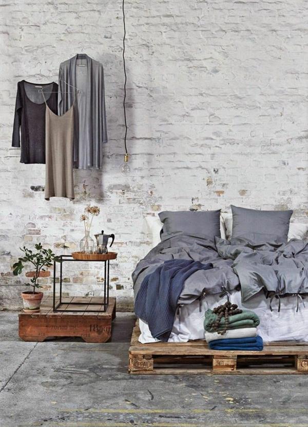bett aus paletten selber bauen schlafzimmer möbel rustikale einrichtungsideen