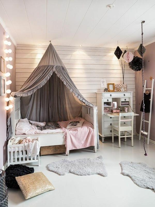 betthimmel kinderzimmer mädchenzimmer schöne lichtkette