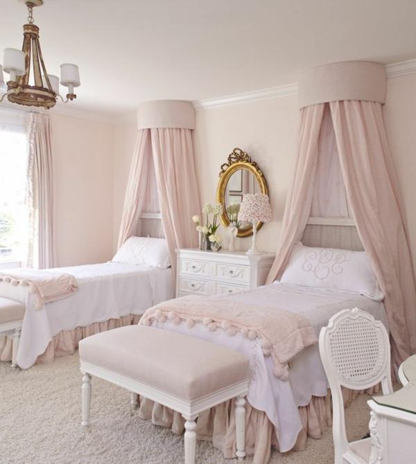 betthimmel mädchenzimmer hellrosa schlafzimmerbänke