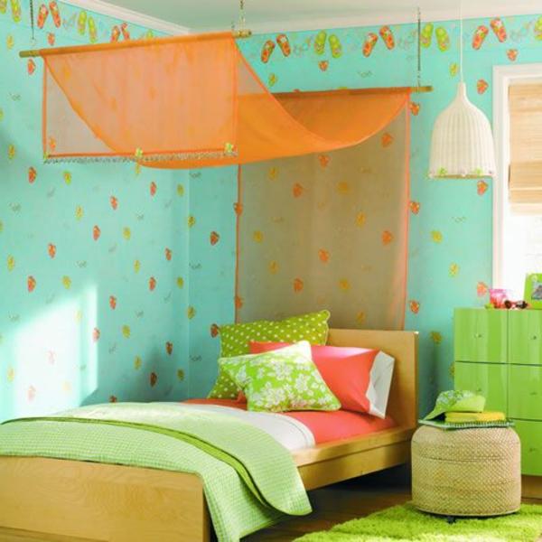 betthimmel orange frische grüne wände schlafzimmer