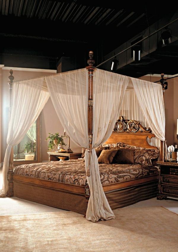 betthimmel schlafzimmer design luxuriös braunnuancen