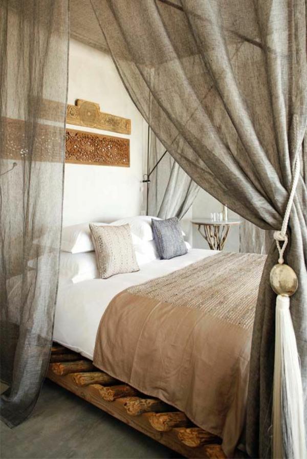 betthimmel schlafzimmer rustikal behaglich wanddeko