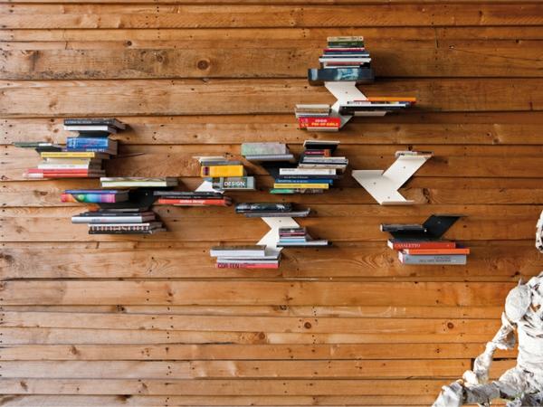 Bücherregal wand design  Bücherregal Wand: Designer Wandregale im Wohnzimmer