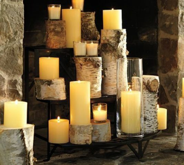 dekokamin birkenholz stumpenkerzen windlichter glas