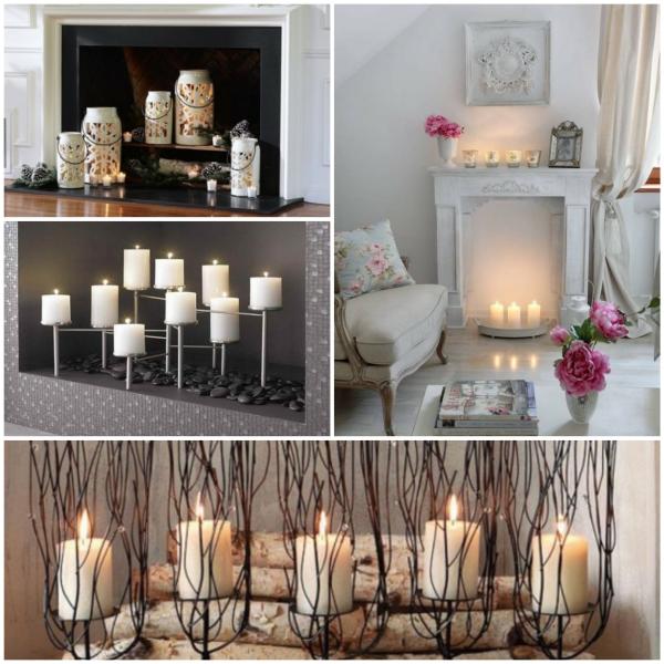 Deko wohnzimmer kerzen  Deko Kamin - romantische Stimmung mit Kerzen und Laternen