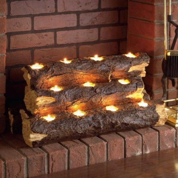 deko kamin massives naturholz teelichter kerzen