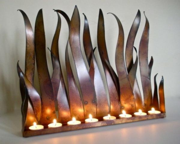 deko kamin teelichter metallene flammen
