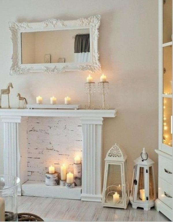 wohnzimmer deko natur:deko kamin weiße ziegelwand birkenholz naturholz stumpenkerzen