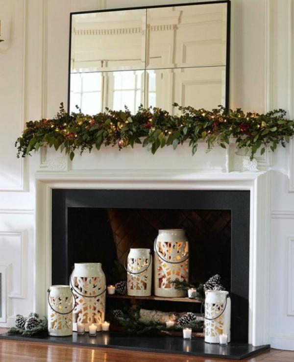 deko kamin weihnachtsdeko laternen kerzen