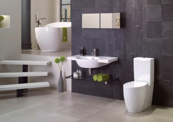 designer-badezimmer graue wandfliesen granit grüne akzente