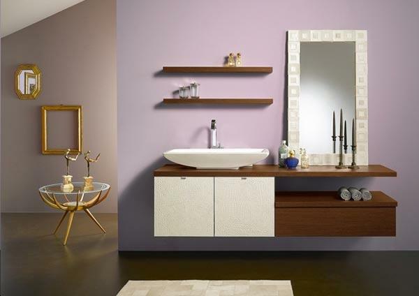 designer-badezimmer holzregale schränke kerzenständer goldene akzente