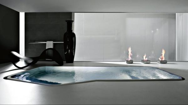 designer-badezimmer innenpool ethanolfeuerstelle liege