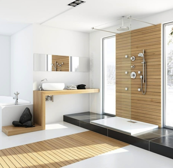 Designer Badezimmer Moderne Dusche Regendusche Steine Holzbohlen