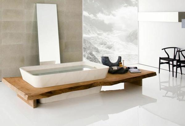 designer-badezimmer naturholz badewanne ausssicht