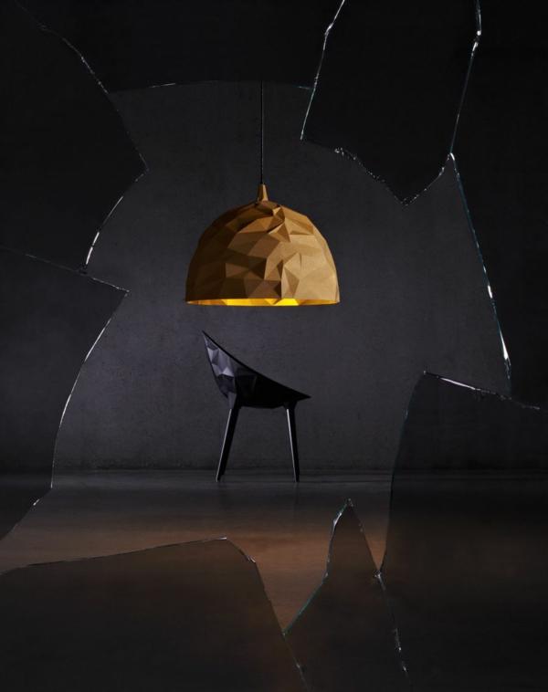 designer lampen Diesel design gold schwarzer sessel