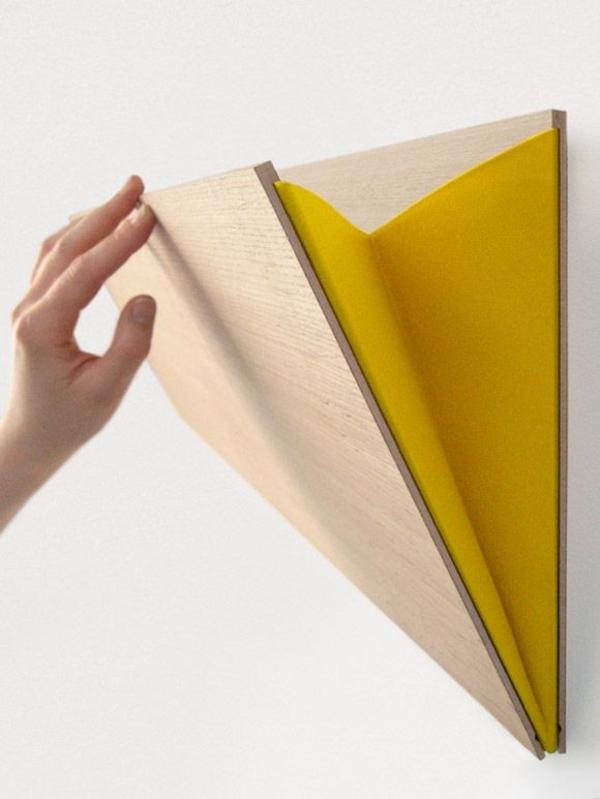 designer möbel aus Furnier zukunft des materials wandregal tasche