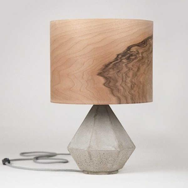 designer möbel aus Furnier zukunft des materials wandregal tischlampe