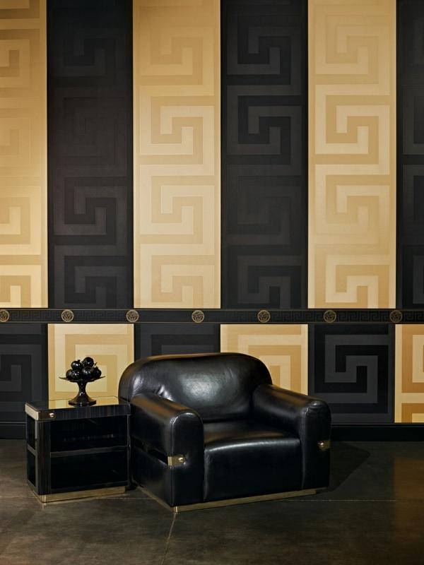 designer tapeten gold schwarz griechischer schlüssel