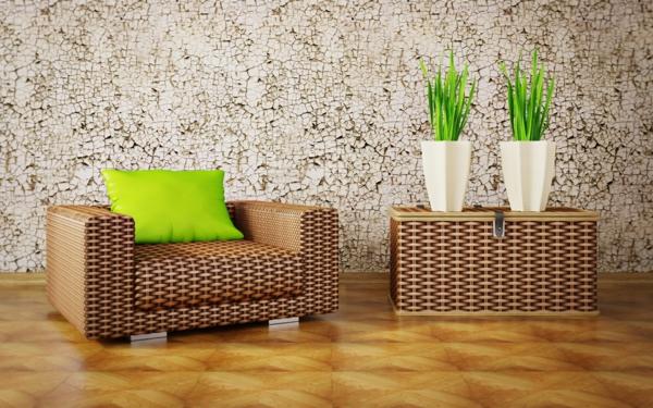 designer tapeten minimalistisch shabby chic rattan möbel
