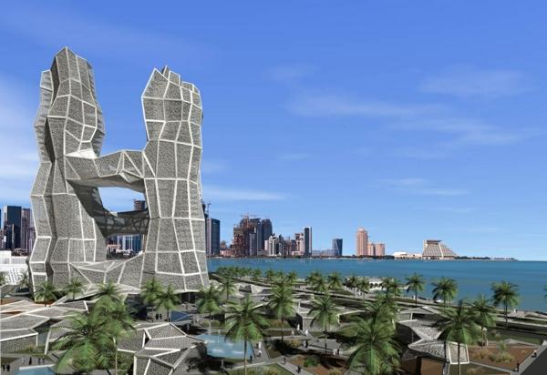 bewundern sie die futuristische architektur von doha katar. Black Bedroom Furniture Sets. Home Design Ideas