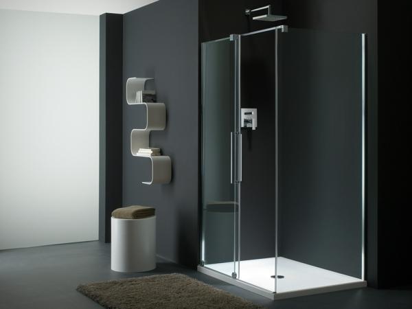 duschkabine minimalistisches badezimmer schwarz