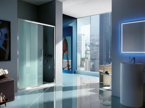 duschkabine modern milchglas matt