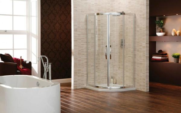 duschkabine mosaikfliesen eckig freistehende badewanne