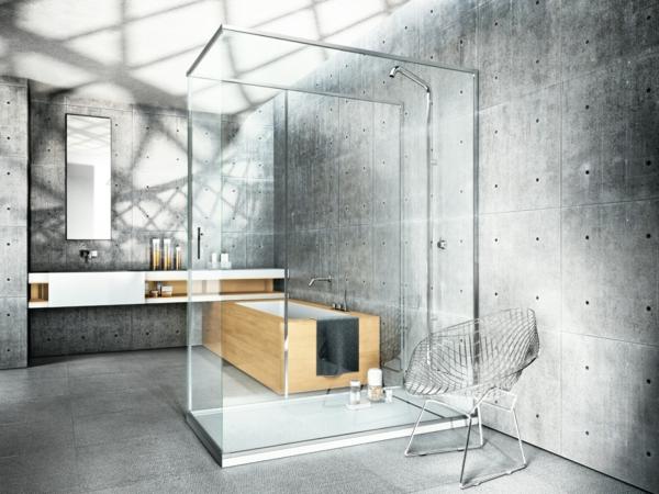 duschkabine rechteckig minimalistisch betonwände industrieller stil
